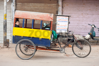 Indian Child Riding School Cycle Rickshaw