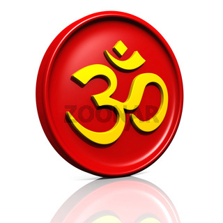 3D - Golden OM sign on red Medallion