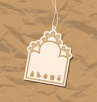 Vintage blank badge with Christmas elements