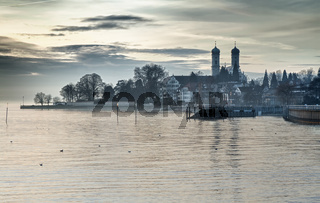 Bodensee (Lake Constance) with Schlosskirche (church) of Friedrichshafen, Germany