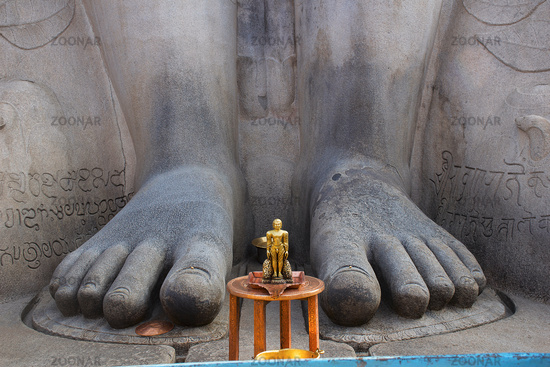 Feet of  Gommattesvara Bahubali close up. Dated 978-993. Shravanabelagola Channarayapatna, Hassan district, Karnataka. South India