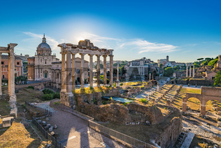 Sunrise at Roman Forum and Colosseum, Rome, Italy
