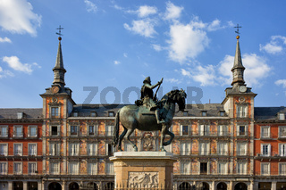 Plaza Mayor in City of Madrid in Spain