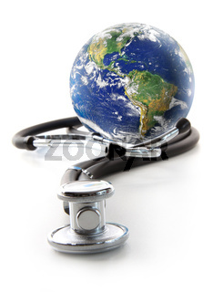 Stethoscope with globe on a white