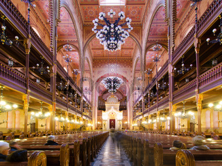 Interior of the Dohany Street Synagogue in Budapest, Hungary.
