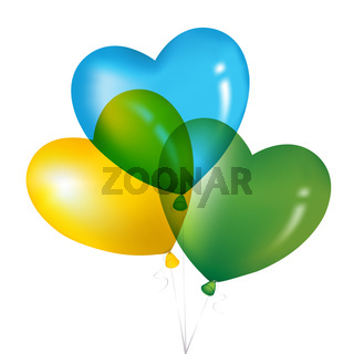 Colorful Heart Shape Balloons, Yellow, Green And Blue