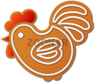 Gingerbread cock, or rooster - symbol of New Year 2017 - isolated on white background.
