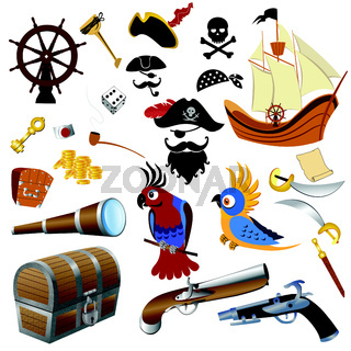 Pirate icons detailed set vector illustration on a white background
