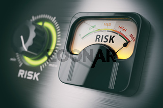 Risk of investment strategy concept. Swith knob positioned on maximum risk.