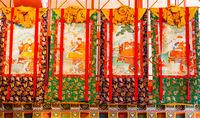 Buddhist thangkas, Tibetan Buddhist painting on cotton, or silk appliqué