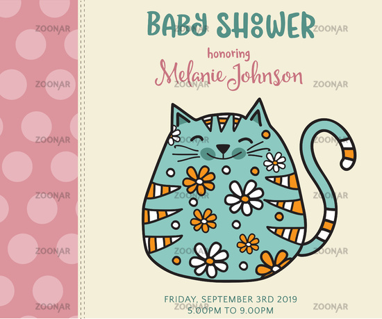 Baby Shower Card Template | Foto Baby Shower Card Template With Fat Doodle Cat Bild 11472843
