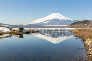 Winter Mount Fuji Yamanaka Lake