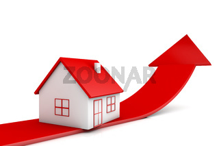 3d illustration house and red arrow