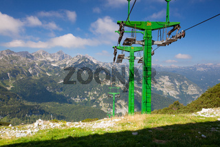 Vogel ski center in the mountains in summer day. Slovenia, Europe