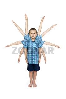 ten arm-boy isolated on white