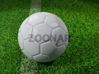 3D rendering of white soccer ball on the pitch