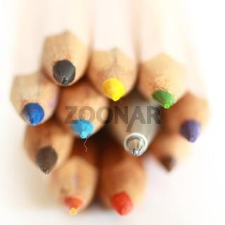 Buntstiftspitzen mit Kugelschreiber