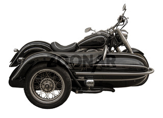 Isolated Vintage Motorcycle With Sidecar