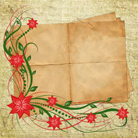 Card for design with sheet and flowers