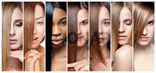 Portrait collage of women with various hair color skin tone and complexion