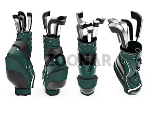 Isolated collection of golf stand bag over white background