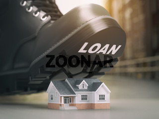 Mortgage house loan crisis concept. Foreclosure and repossession problems. House and boot with loan.