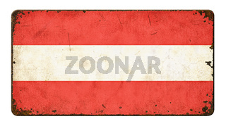 Vintage metal sign on a white background - Flag of Austria