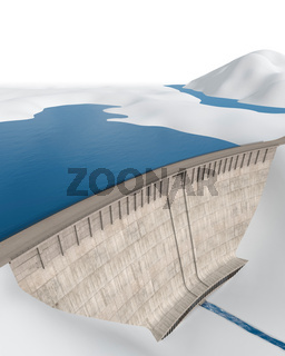 Staudamm in abstrakter, stilisierter Landschaft