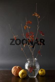 Herbstzweig mit Quitten und Kürbis