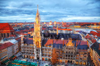 Aerial view of Marienplatz in Munich