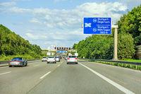 freeway road sign on Autobahn A8, exit S-Degerloch / S-Moehringen