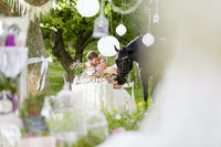 bridal couple in garden wedding