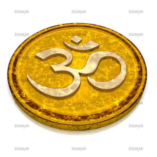 3D - Magic golden OM sign talisman