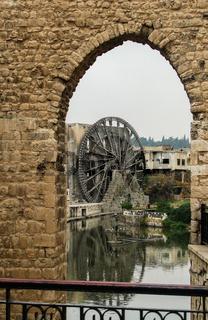 Irrigation Water-wheel norias in Hama on Orontes river Syria