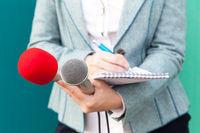 Public relations - PR. Reporter. Press conference.