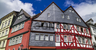 historische Häuser am Eisenmarkt in der Altstadt von Wetzlar, Hessen, Deutschland