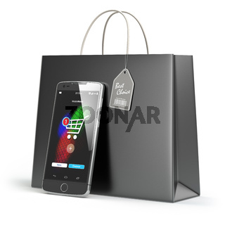 Online shopping concept. Mobile phone or smartphone with shopping paper bag isolated on white