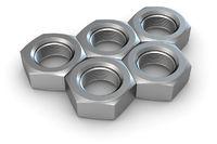 Five metal screw nuts in olympic rings shape