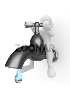 Men and tap on white isolated background. 3d