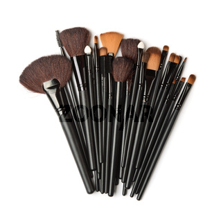 Top view of cosmetic brush set