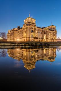 Der Reichstag in Berlin nach Sonnenuntergang