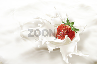 Strawberry falling into a sea of milk, causing a splash.