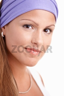 Portrait of attractive young girl smiling