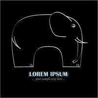 elefant - weiss auf grau - als logo oder hintergrund