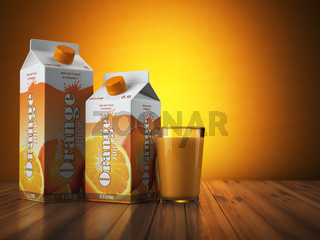 Orange juice carton cardboard box pack with glass on orange background.
