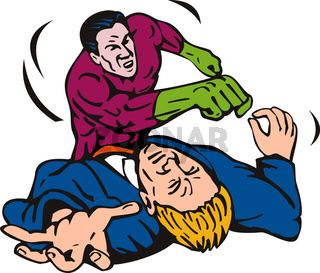 Superhero punching guy