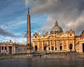 Saint Peter Square and Saint Peter Basilica in the Morning, Rome, Italy