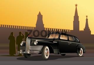 detailed retro limousine