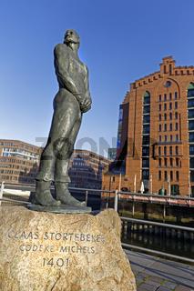 Störtebeker Statue, Hafencity, Hamburg, Deutschland, Europa