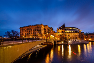 Riksdag Building and Riksgatan Bridge in the Evening, Stockholm, Sweden